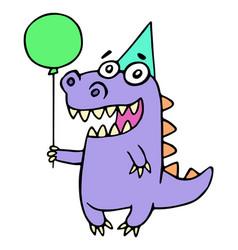 happy birthday greeting purple dragon vector image