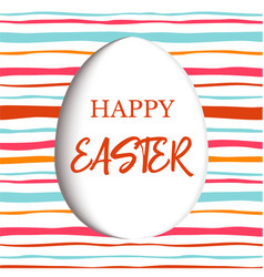 Happy easter decorated white flat egg with simple vector