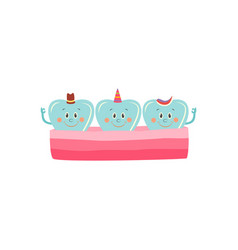 healthy teeth in gum cartoon characters happy and vector image
