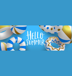 hello summer 3d gold pool lifesaver web banner vector image