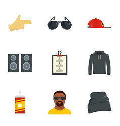 hip hop icon set flat style vector image