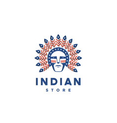 icon american man with indian chief feathers vector image