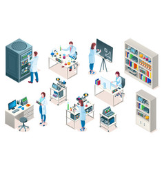 isometric laboratory or chemical medicine lab vector image