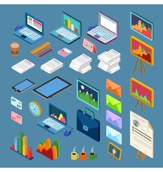 Isometric Office Objects Business Elements Set vector image