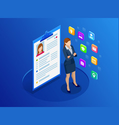 Isometric woman and cv resume documents vector