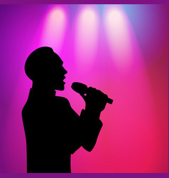 man singing silhouette vector image