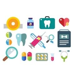 medicine icons set doctors tools vector image