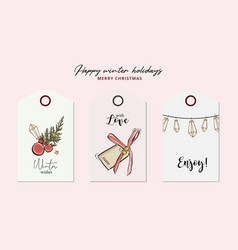 merry christmas hand-drawn greeting cards vector image