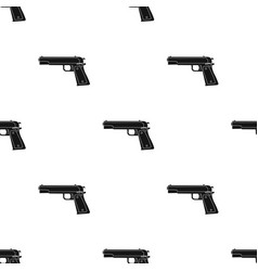 Military handgun icon in black style isolated on vector