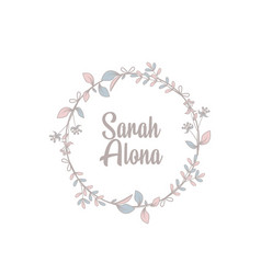 Minimalist logotype sarah alona with leaf element vector