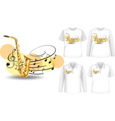 Mock up shirt with saxophone music instruments vector