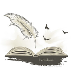 Old feather paint with flying birds and open book vector