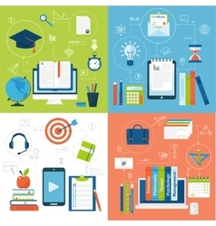 Online education flat icons set of distance vector