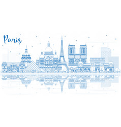 Outline paris france city skyline with blue vector