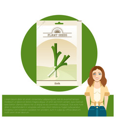 pack of leek seeds icon vector image vector image