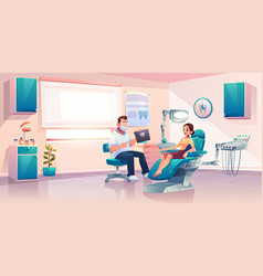 Patient at dentist office woman in medical chair vector