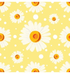 Pattern with white chamomiles and dots on yellow vector image