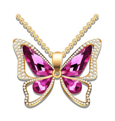 Pendant gold butterfly with precious stones vector