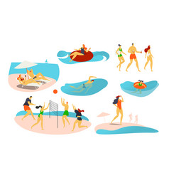 People on beach vector