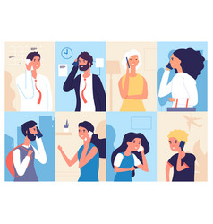 people talking phone men and women calling by vector image