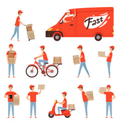 Pizza delivery characters van and motorcycle or vector