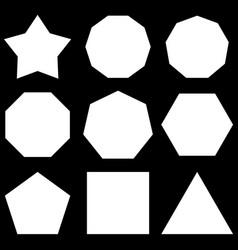 Polygon set basic shapes set star hexagon decagon vector