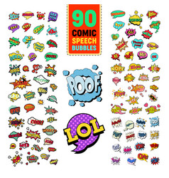 pop art comic speech bubbles collection vector image