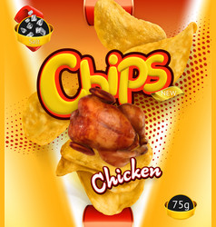 Potato chips chicken flavor design packaging 3d vector