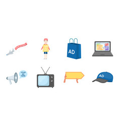 Production of advertising icons in set collection vector