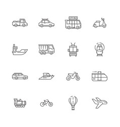 Public transport icons cars planes trains boats vector
