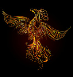 rising phoenix on black background vector image