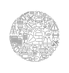 round design element with construction icons vector image