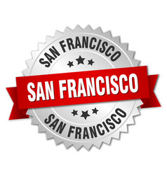 San francisco round silver badge with red ribbon vector