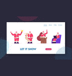 Santa claus website landing page fantasy vector