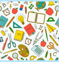 School doodle seamless pattern vector