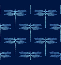 seamless pattern from gradient luminous dragonfly vector image