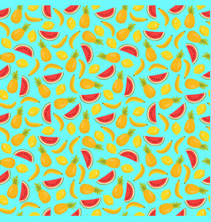 Seamless pattern with pineapples bananas and vector