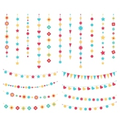 set of festive buntings flags and garlands vector image