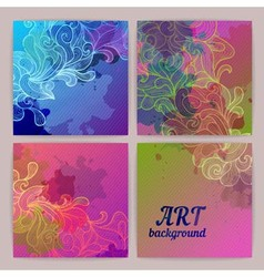 Set of ornamental artistic watercolor banners vector image