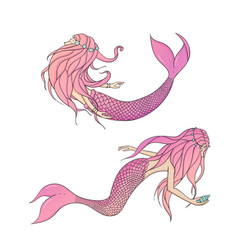 set pink mermaids mythical sea creatures vector image