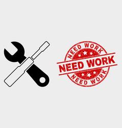 setup tools icon and grunge need work vector image