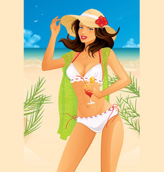 Sexy woman on beach vector image