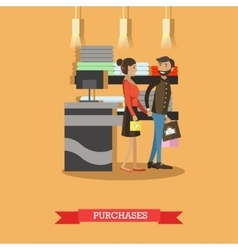 Shopping concept poster People on a mall vector