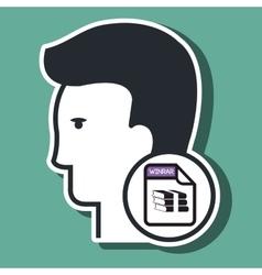 silhouette winzip icon vector image