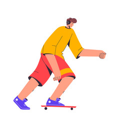 skateboarder rides and listens to music young man vector image