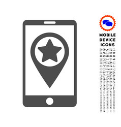 Smartphone map pointer icon with set vector