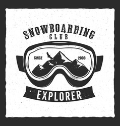 Snowboarding goggles extreme logo and label vector