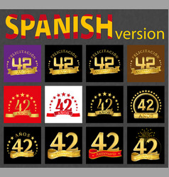 spanish set of number forty-two 42 years vector image
