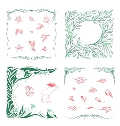 Spring Ornamental Frames and Symbols Set vector image