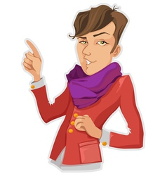 Stylish Man In A Purple Scarf vector